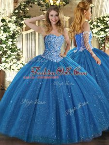 Spectacular Blue Lace Up 15th Birthday Dress Beading Sleeveless Floor Length