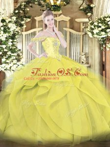 Discount Floor Length Yellow Sweet 16 Dress Tulle Sleeveless Beading and Ruffles
