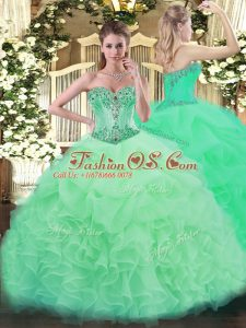Sweetheart Sleeveless Lace Up Sweet 16 Dress Apple Green Organza