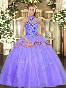Floor Length Lavender Quinceanera Dresses Tulle Sleeveless Embroidery