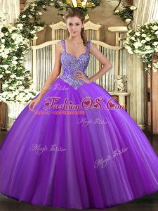 Super Purple Ball Gowns Beading Sweet 16 Dress Lace Up Tulle Sleeveless Floor Length