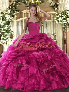 Organza Halter Top Sleeveless Lace Up Ruffles and Pick Ups Quince Ball Gowns in Hot Pink