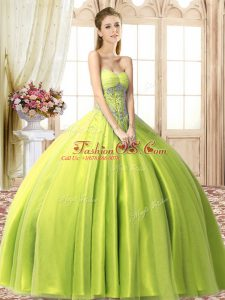 Floor Length Yellow Green Quinceanera Dress Tulle Sleeveless Beading