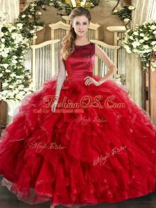 New Arrival Scoop Sleeveless Lace Up Vestidos de Quinceanera Red Tulle