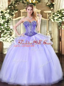 Stylish Beading Quinceanera Gown Lavender Lace Up Sleeveless Floor Length