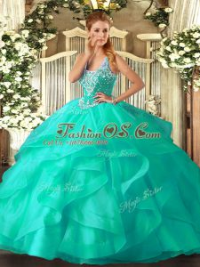 Smart Floor Length Turquoise Sweet 16 Quinceanera Dress Straps Sleeveless Lace Up