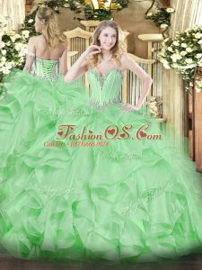 Apple Green Sleeveless Beading and Ruffles Floor Length Quinceanera Gowns