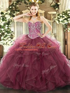 Burgundy Sleeveless Floor Length Beading and Ruffles Lace Up Vestidos de Quinceanera
