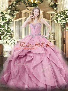 Sleeveless Lace Up Floor Length Beading and Ruffles Quinceanera Dress