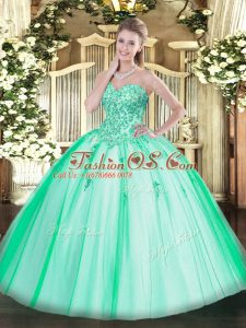 Gorgeous Sweetheart Sleeveless Tulle Quinceanera Dress Appliques Lace Up
