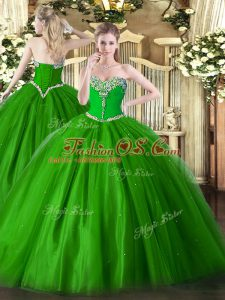 Luxury Green Ball Gowns Tulle Sweetheart Sleeveless Beading Floor Length Lace Up Sweet 16 Dresses