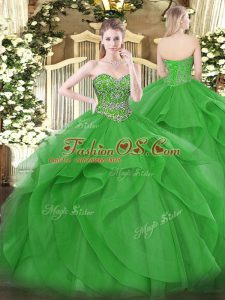 Traditional Green Tulle Lace Up Sweet 16 Dresses Sleeveless Floor Length Beading and Ruffles