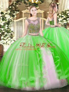 Low Price Sleeveless Floor Length Beading and Ruffles Lace Up Ball Gown Prom Dress with