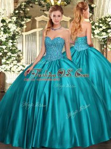 Glamorous Teal Ball Gowns Beading Quinceanera Dress Lace Up Satin Sleeveless Floor Length