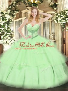 High End Yellow Green Sleeveless Beading and Ruffled Layers Floor Length Sweet 16 Quinceanera Dress