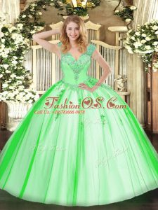 Sleeveless Beading Floor Length Quinceanera Gowns