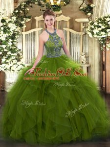 Charming Sleeveless Beading and Ruffles Lace Up Quinceanera Dress