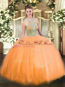 Orange Tulle Lace Up Quinceanera Gowns Sleeveless Floor Length Beading