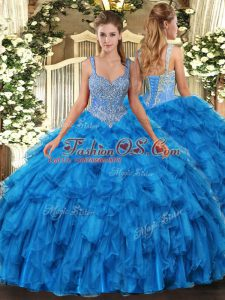 Designer Straps Sleeveless Ball Gown Prom Dress Floor Length Beading and Ruffles Blue Organza