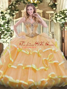 Graceful Sweetheart Sleeveless Organza Quinceanera Dresses Beading and Ruffles Lace Up