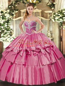 Spectacular Sleeveless Floor Length Beading and Ruffled Layers Lace Up Vestidos de Quinceanera with Hot Pink