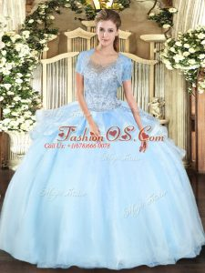 Aqua Blue Ball Gowns Beading Vestidos de Quinceanera Clasp Handle Organza and Tulle Sleeveless Floor Length