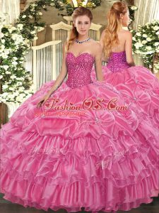 Ideal Organza Sweetheart Sleeveless Lace Up Beading and Ruffled Layers and Pick Ups Vestidos de Quinceanera in Rose Pink