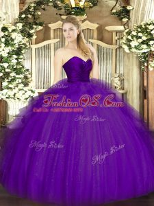 Purple Sleeveless Tulle Zipper Ball Gown Prom Dress for Military Ball and Sweet 16 and Quinceanera