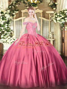 Floor Length Hot Pink Vestidos de Quinceanera Off The Shoulder Sleeveless Lace Up