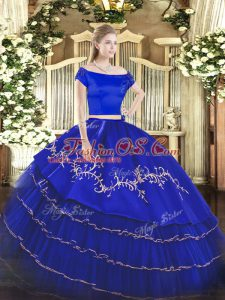 Royal Blue Short Sleeves Floor Length Embroidery and Ruffled Layers Zipper Sweet 16 Dresses