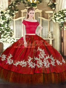 Sumptuous Wine Red Off The Shoulder Neckline Embroidery Sweet 16 Quinceanera Dress Short Sleeves Zipper