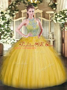 Floor Length Gold Ball Gown Prom Dress Tulle Sleeveless Beading and Ruffles