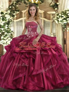 Super Floor Length Red Quinceanera Dresses Strapless Sleeveless Lace Up