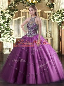Sleeveless Floor Length Beading Lace Up Vestidos de Quinceanera with Lilac