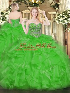Elegant Floor Length Green Quinceanera Gowns Sweetheart Sleeveless Lace Up