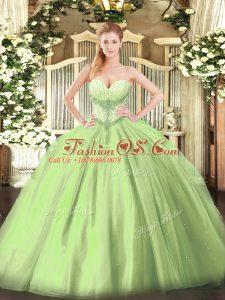 Yellow Green Sleeveless Beading Floor Length Quinceanera Gowns