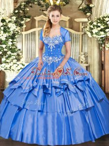 Suitable Baby Blue Sweetheart Neckline Beading and Ruffled Layers Quinceanera Dress Sleeveless Lace Up