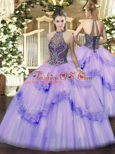 Shining Lavender Sleeveless Floor Length Beading and Appliques Lace Up Ball Gown Prom Dress