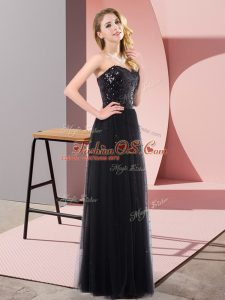 Luxury Black Lace Up Sweetheart Sequins Teens Party Dress Tulle Sleeveless