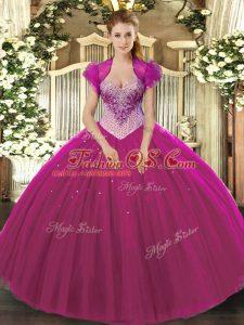Fuchsia Sleeveless Floor Length Beading Lace Up 15th Birthday Dress