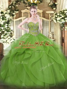 Best Selling Olive Green Ball Gowns Beading and Ruffles Sweet 16 Dresses Lace Up Tulle Sleeveless Floor Length