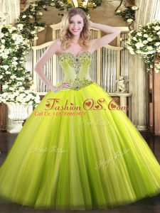 Inexpensive Floor Length Ball Gowns Sleeveless Yellow Green 15th Birthday Dress Lace Up