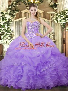 Sleeveless Organza Floor Length Lace Up Quinceanera Gowns in Lilac with Beading and Ruffles and Pick Ups