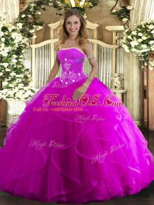 Wonderful Fuchsia Ball Gowns Strapless Sleeveless Tulle Floor Length Lace Up Beading and Ruffles Quinceanera Gowns