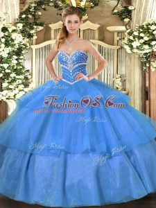 Fabulous Blue Sleeveless Tulle Lace Up Vestidos de Quinceanera for Military Ball and Sweet 16 and Quinceanera