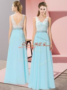 Aqua Blue Sleeveless Floor Length Beading Backless