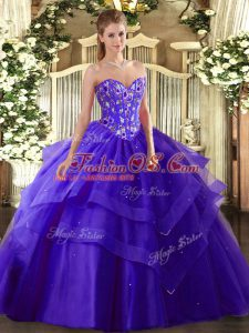 Sweetheart Sleeveless Lace Up Ball Gown Prom Dress Purple Tulle