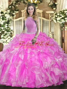 High-neck Sleeveless Lace Up 15 Quinceanera Dress Rose Pink Organza