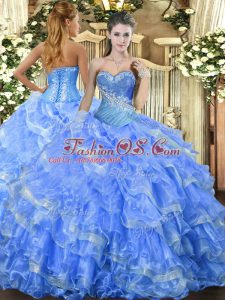 Stylish Baby Blue Organza Lace Up Quinceanera Dress Sleeveless Floor Length Beading and Ruffled Layers