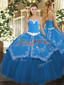 Floor Length Blue Quinceanera Dresses Sweetheart Sleeveless Lace Up